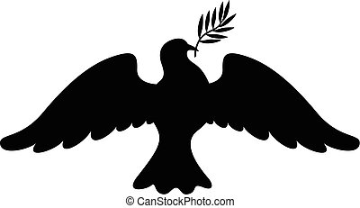 Dove with branch silhouette