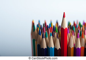 Group of bright wooden pencils with copyspace - Group of...