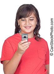Adorable preteen girl with a mobile isolated on white...