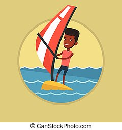Young man windsurfing in the sea. - African windsurfer...