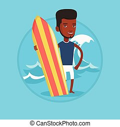 Surfer holding surfboard vector illustration. - Young man...