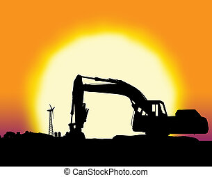 Backhoe with big yellow sunset and farm setting with copy...