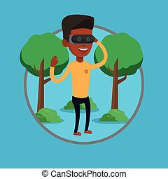 Man wearing virtual reality headset in the park. - African...