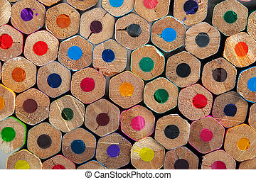 Colorful unsharpened pencils background