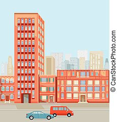 Stadt-Strasse.eps - Buildings in the city illustration