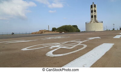 Marked bike route in Tel Aviv Port - Shot of Marked bike...
