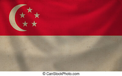 Flag of Singapore. - Vintage background with flag of...