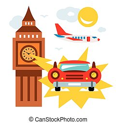 Vector time machine. Flat style colorful Cartoon...