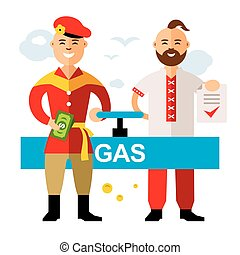 Vector Gas pipeline Russia - Ukraine. Flat style colorful...