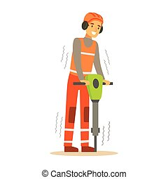 Road Worker In Headphones Working With Jackhammer , Part Of...