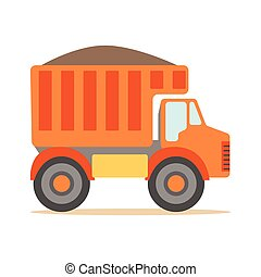Orange Truck Loaded With Gravel , Part Of Roadworks And...