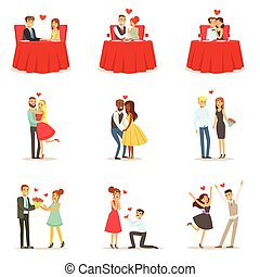 Couples In Love Romantic St. Valentine s Day Date, Lovers...