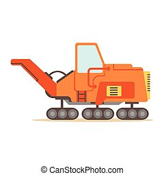 Orange Gravel Spreading Graver Machine , Part Of Roadworks...