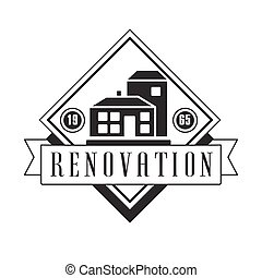 Repair and Renovation Service Black And White Sign Design Template With Text With House Silhouettes In Square Frame