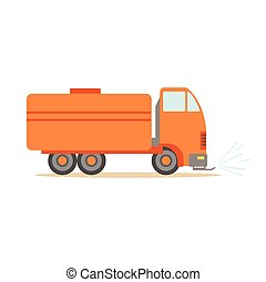 Gas Carrier Orange Truck , Part Of Roadworks And...