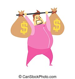 Millionaire Rich Man In Pink Training Suit Lifting The Weight With Two Big Money Bags ,Funny Cartoon Character Lifestyle Situation