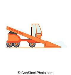 Grader Orange Machine On Six Wheels , Part Of Roadworks And...