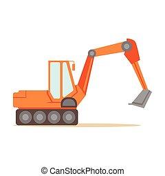 Large Orange Excavator Machine , Part Of Roadworks And...