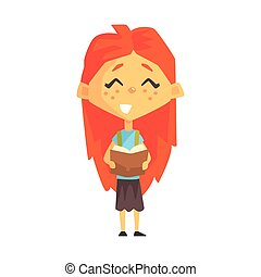 Smiling Redhead Girl Reading A Book, Primary School Kid, Elementary Class Member, Isolated Young Student Character