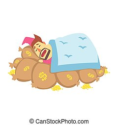 Millionaire Rich Man Using Bags With Money As Bed To Sleep,Funny Cartoon Character Lifestyle Situation