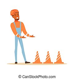 Road Worker Installing Cone Signals , Part Of Roadworks And...
