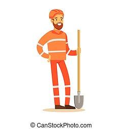 Road Worker In Orange Uniform With Shovel , Part Of...
