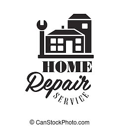 Repair and Renovation Service Black And White Sign Design...