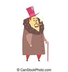 Millionaire Rich Man In Coat And Top Hat Smoking Cigar ,Funny Cartoon Character Lifestyle Situation