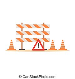 Road Cones And Barriers Signalling Tools , Part Of Roadworks...