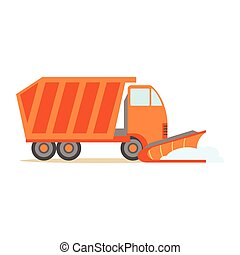 Heavy Truck With Empty Trailer , Part Of Roadworks And...