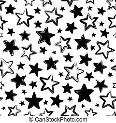 Vector seamless pattern with black stars