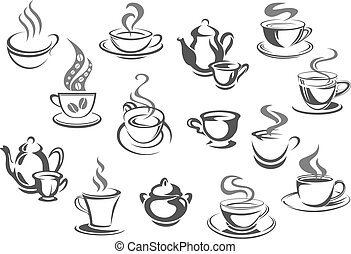 Cup of coffee and tea, teapot, sugar bowl icon set