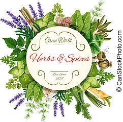Fresh herbs and spices round label for food design - Fresh...
