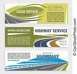 Road construction and repair banner template set - Road...