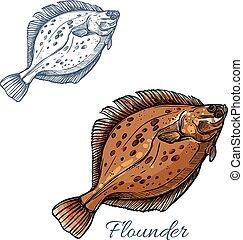 Flounder flatfish sketch for seafood design - Flounder fish...