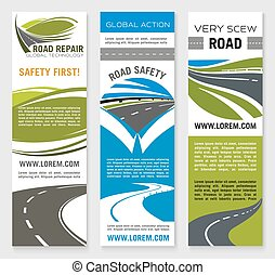 Road construction, repair, safety banner template - Road...
