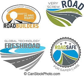 Road construction, build and repair service icon - Road...
