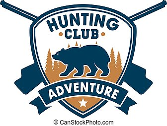 Hunting club sporting badge with wild bear