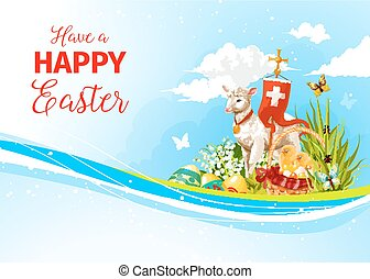 Easter greeting paschal passover lamb vector card - Happy...