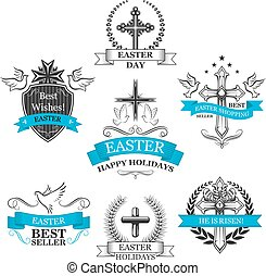 Easter Sale vector paschal greeting icons set - Easter sale...