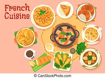 French cuisine popular national dishes icon design