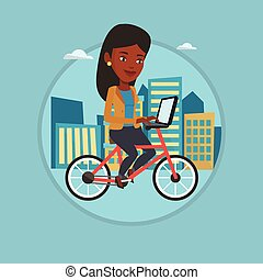 Woman riding bicycle in the city.