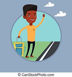 Young man hitchhiking vector illustration. - Young...