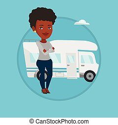 Woman standing in front of motor home. - Woman enjoying her...