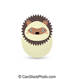 Easter Porcupine Egg - abstract easter animal egg on a white...