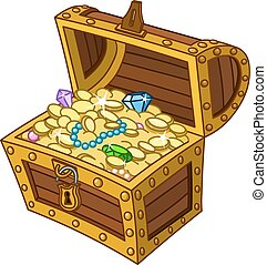 Treasure chest - Opened wooden treasure chest full of gold...