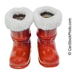 Claus, Plano de fondo, botas, aislado, santa, Santo, blanco,...
