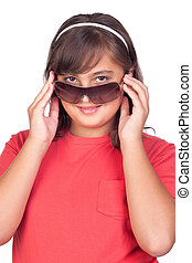 Adorable preteen girl with sunglasses isolated on white...