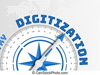 Digitization concept with compass pointing towards text -...