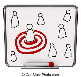 Targeted Person - Dry Erase Board with Red Marker - A white...